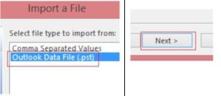 select Outlook Data File