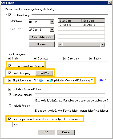 More filtering options