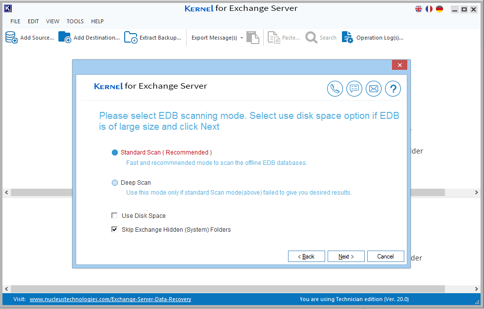 Deep Scan for corrupted EDB file