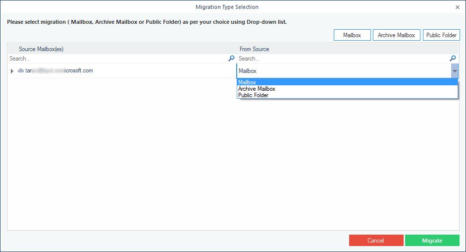 Select among Mailbox