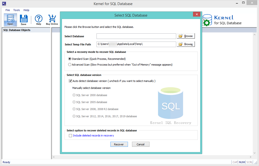 select SQL database file