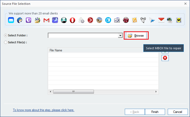 Select folder or file