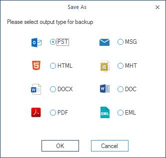 Select PST as the saving option