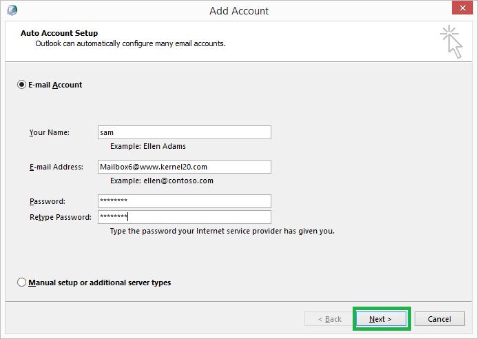 Account login details