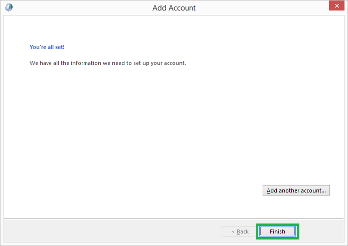 configured with Exchange user account