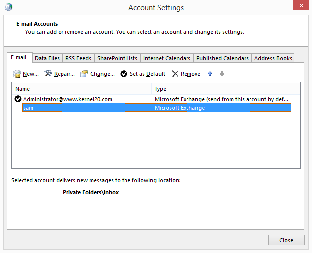 successfully configured Outlook account