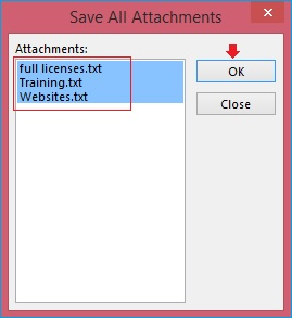 pop on-screen for saving attachments