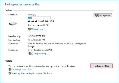 click on Restore my Files