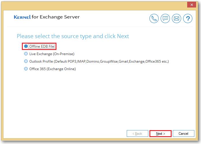 select Offline EDB File