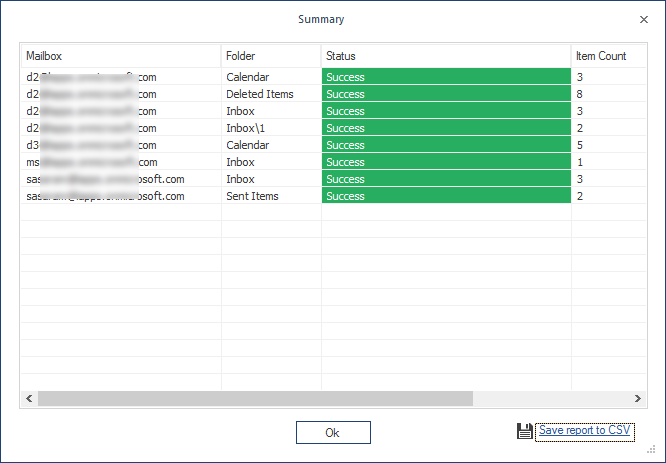 click the option Save report to CSV