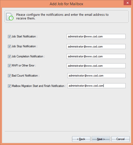 Configure the email notification