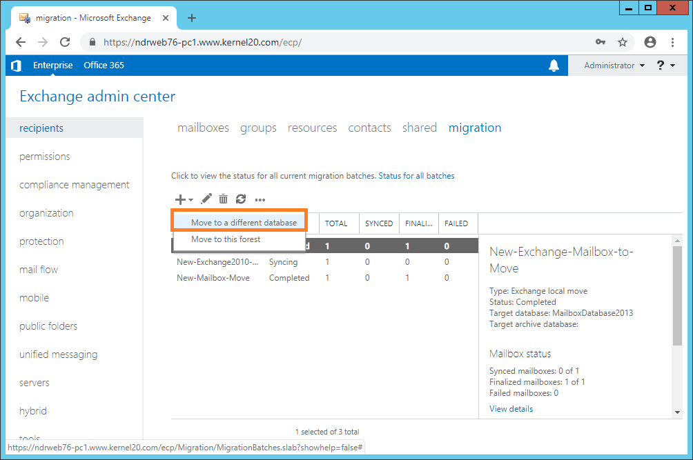 click + and select Move to a different database