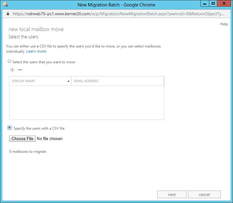 Choose File to add the CSV file