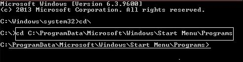 command prompt to paste the path