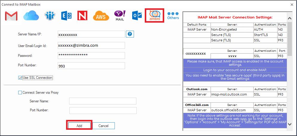Enter email client credentials
