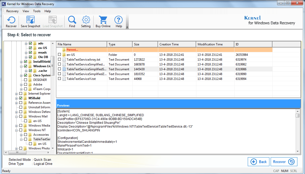 Select files & folder to recover