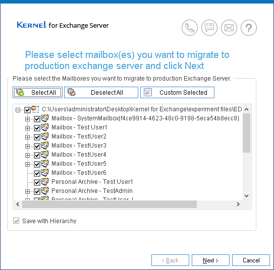 Select specific mailboxes want to migrate