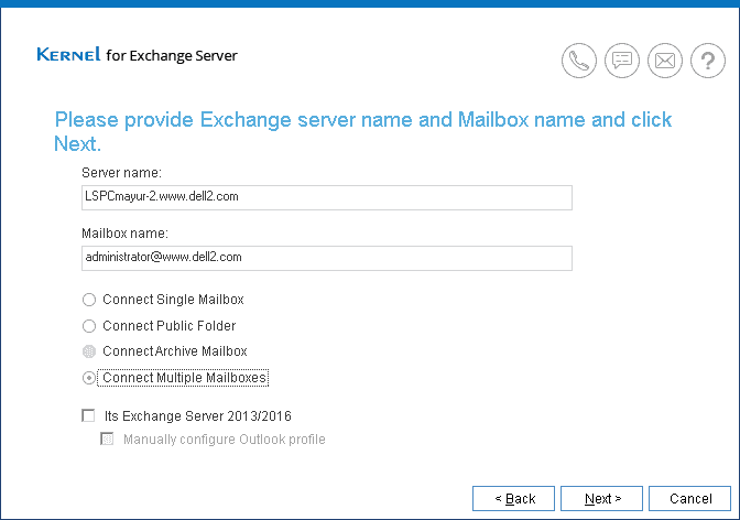 Add Credentials - Add Exchange Server name