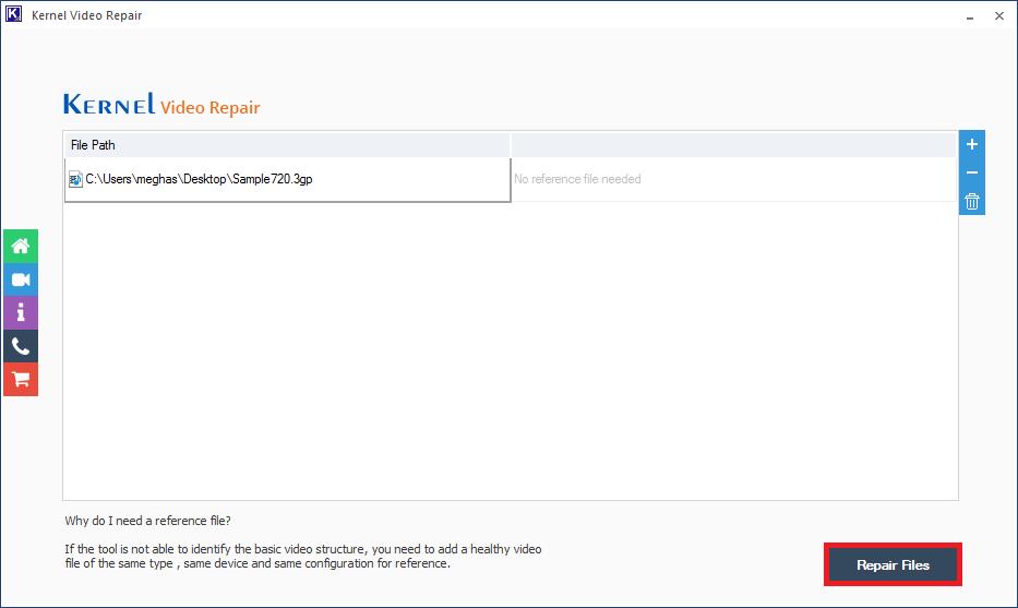 Click on repair file