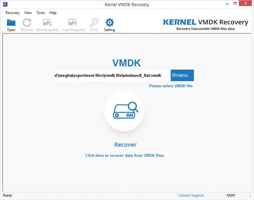 click on Recover button to repair corrupt VMDK file