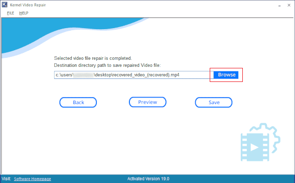 Select path to save repaired video file
