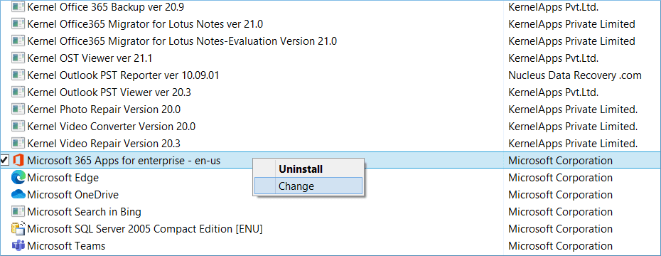 Click Change button to repair Office 365