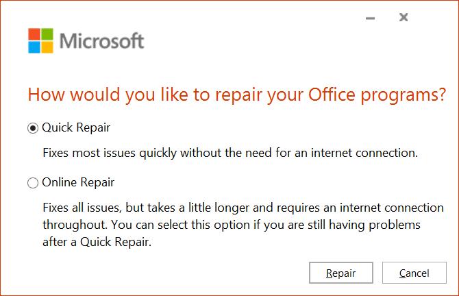 Select Quick Repair and click Repair