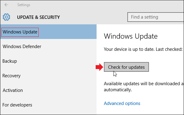 install the updates