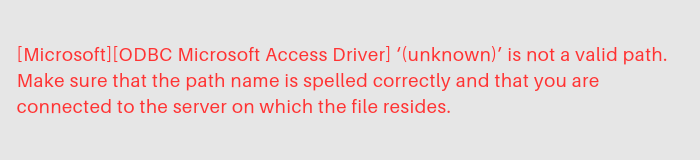 Unable to Connect to Access Database Error – What to Do?