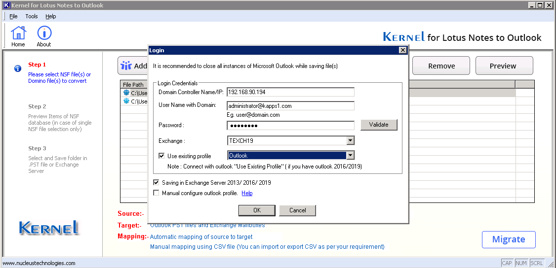 Enter the Exchange Server login credentials