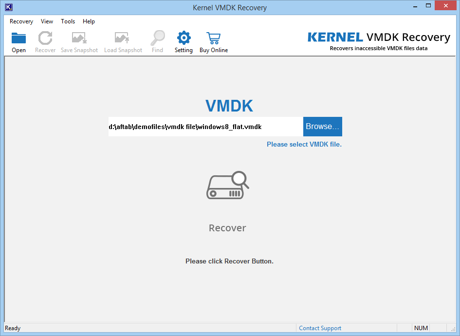 Browse and then select corrupt VMDK file