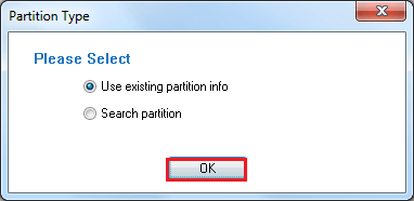 Select Partition Type between w of the options. Then click Ok