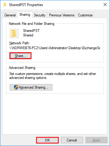 convert a folder to a shared folder