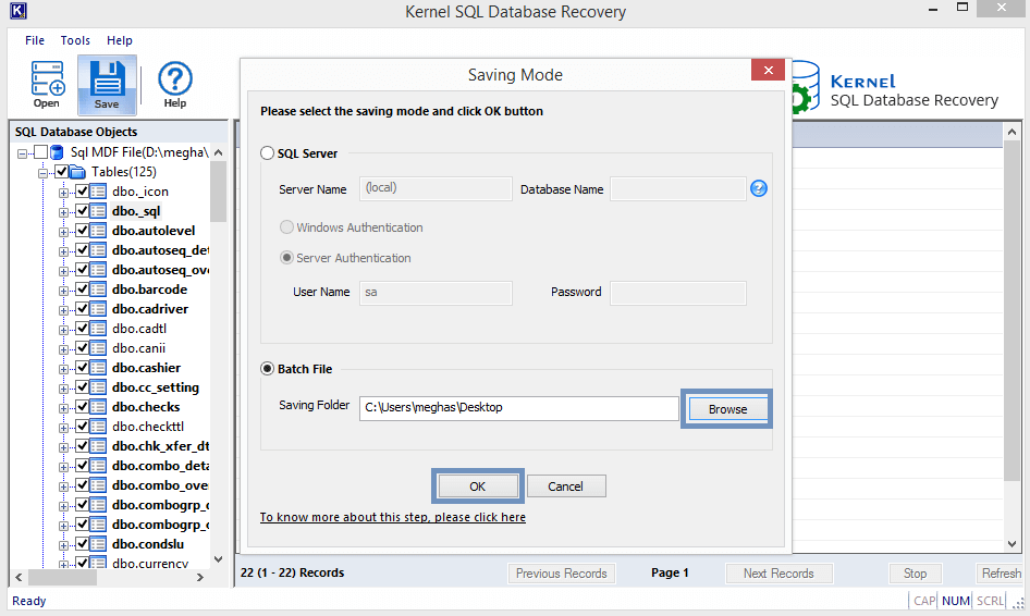 select SQL server to import data