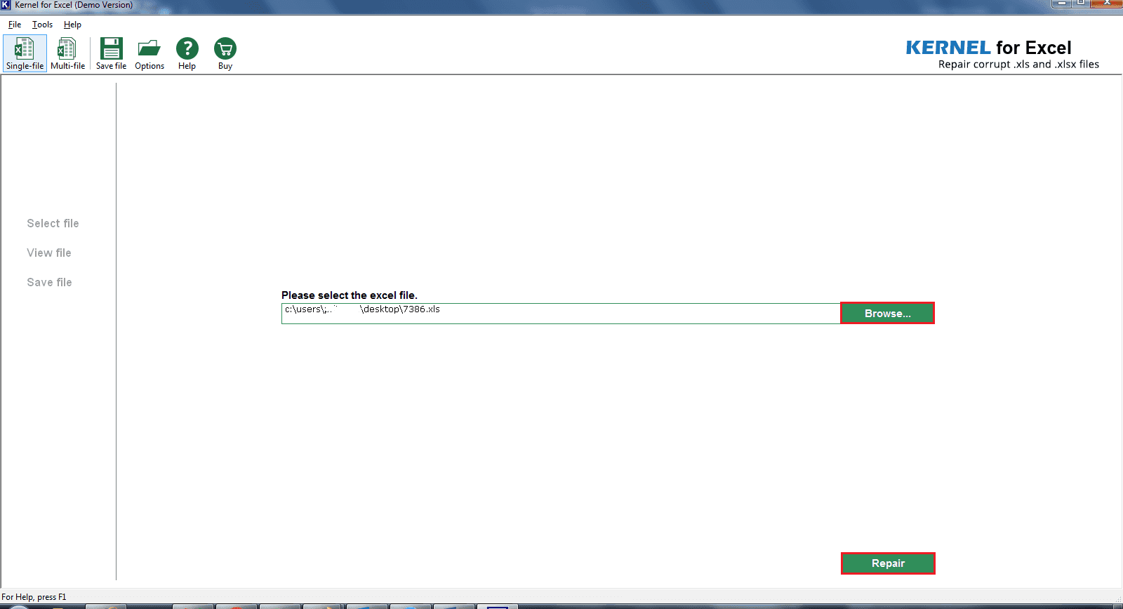 Browse to select Excel file to recover