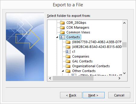 Contact folder