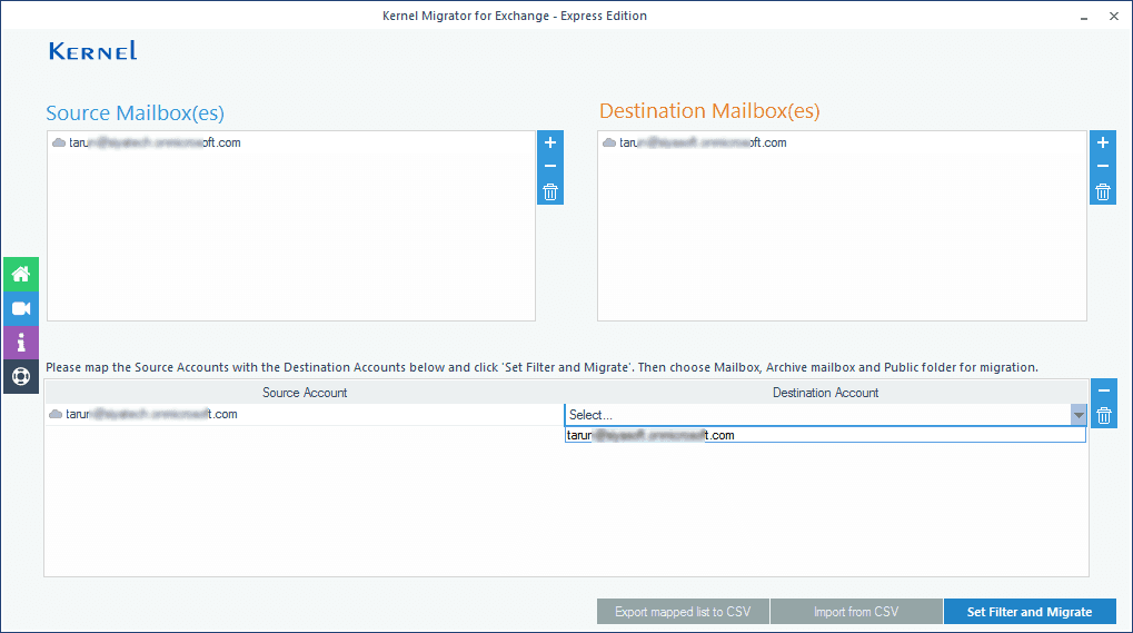 mapping the source account with the destination account