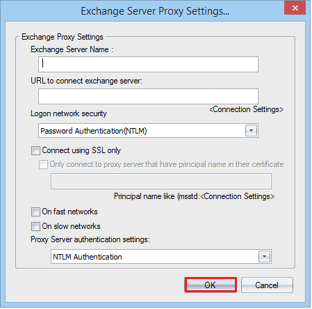 Provide Exchange server name
