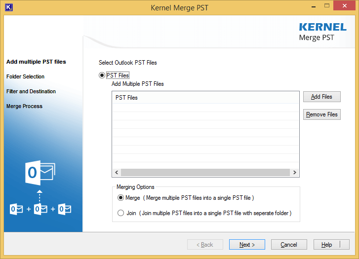 Launch the merge PST tool