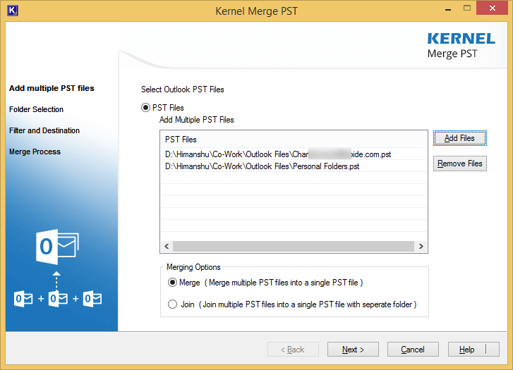Select the PST file to merge