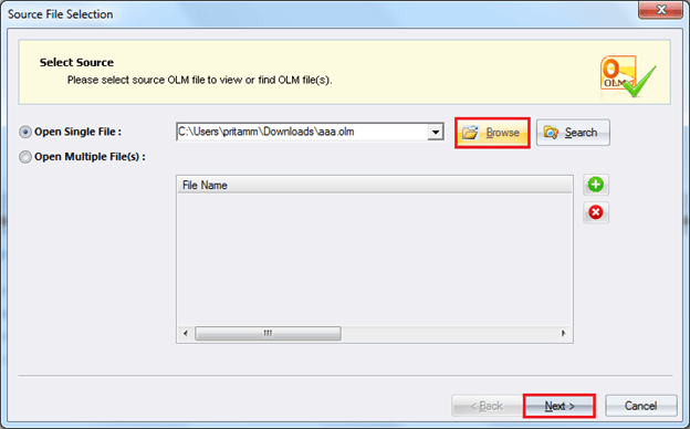 Select single or multiple OLM files