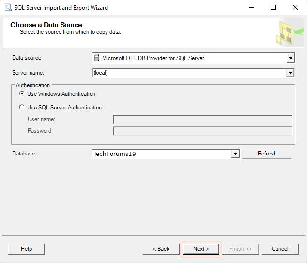 select Source database name