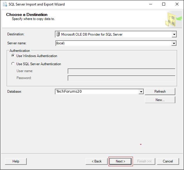 choose Destination database name