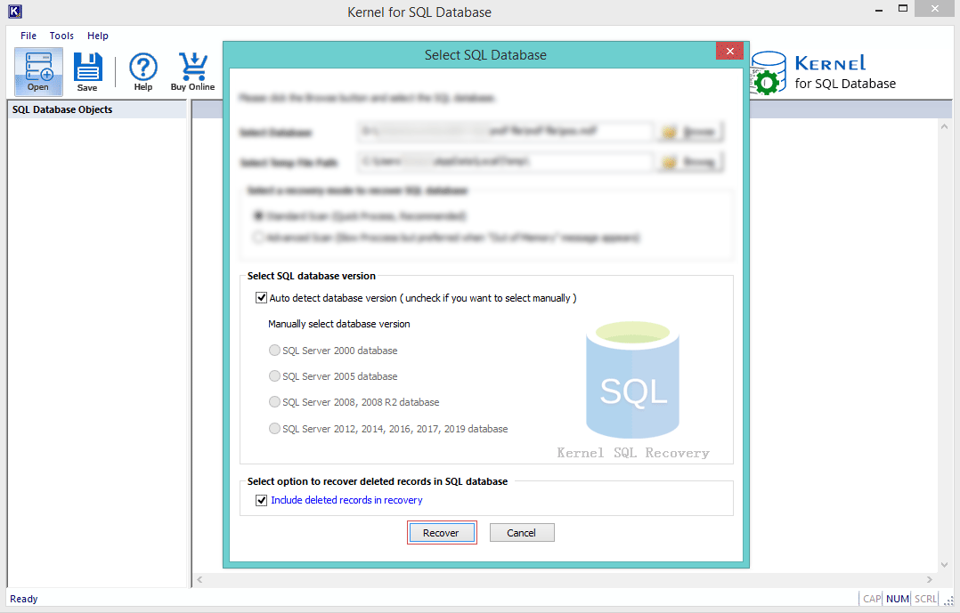 select the SQL Database version