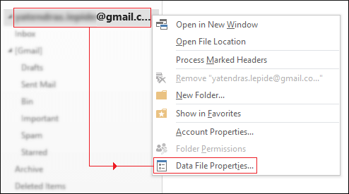 Select Data File Properties