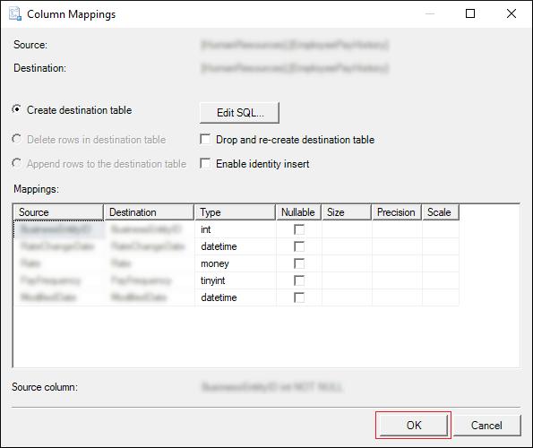 Create destination table