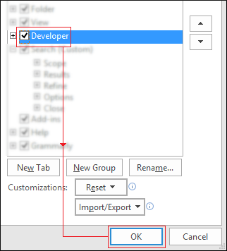 checkmark Developer option