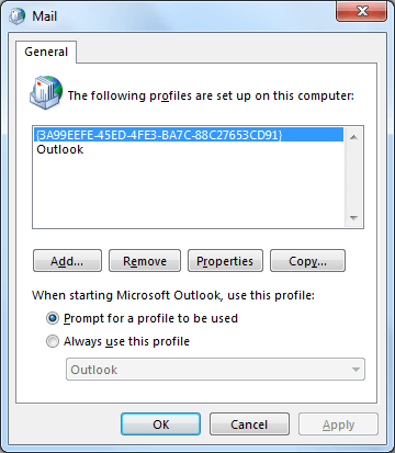 Mail dialogue box