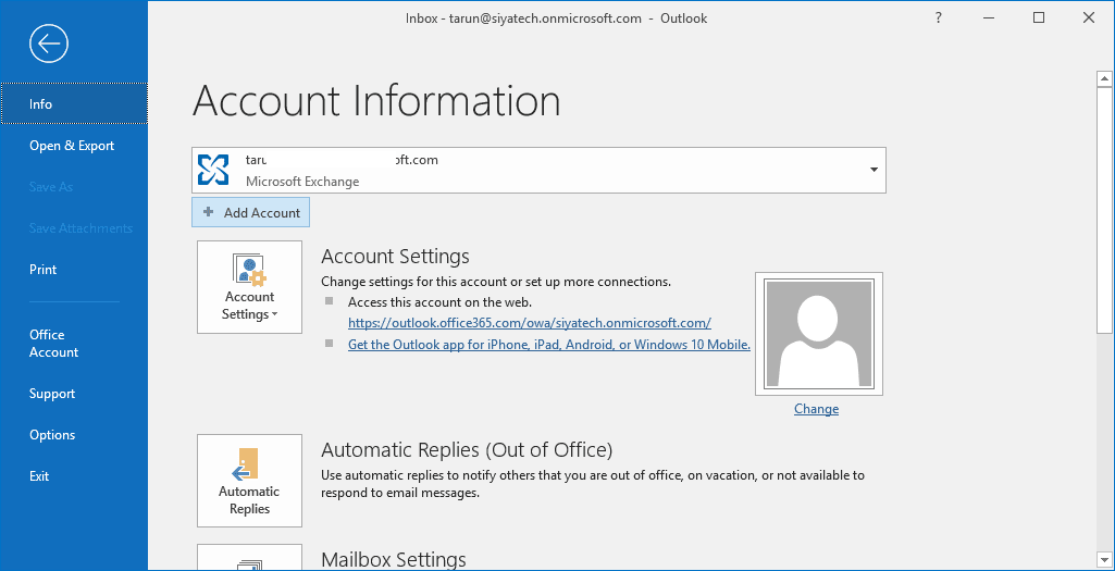 Click on Add Account button in Outlook