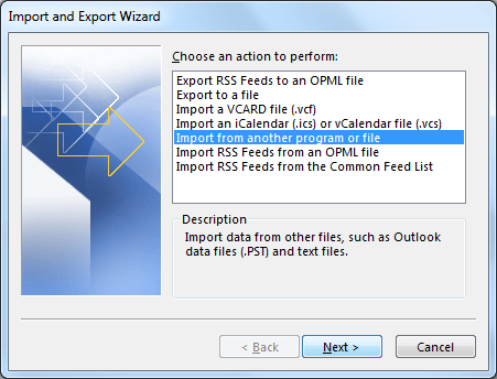 Import file from Import and Export Wizard